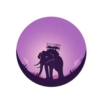 Safari tema elefantes luna llena y cielo nocturno.
