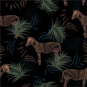 Safari tropical oscuro con cebra en la selva de patrones sin fisuras