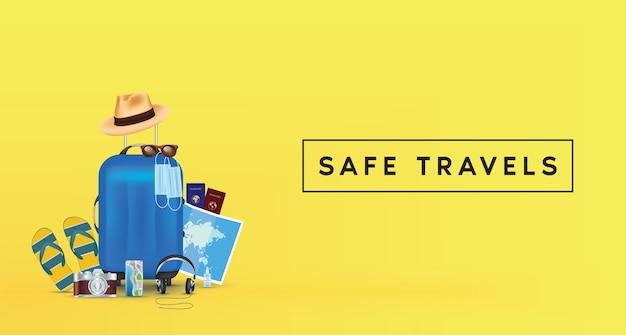 Safe travels y accesorios de viaje de equipaje azul sobre fondo amarillo.