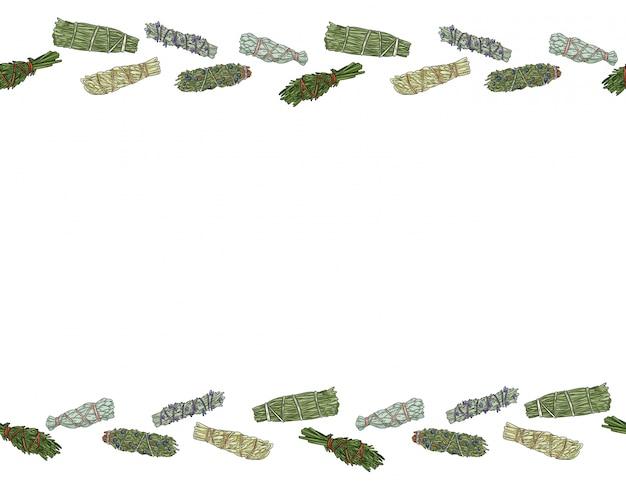 Sage smudge palos de mano dibujado a mano formato de ornamento transparente. patrón de paquetes de hierbas