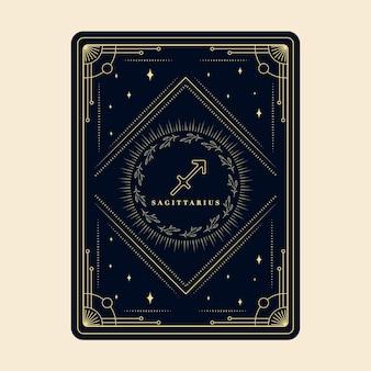 Sagitario signos del zodíaco tarjetas del horóscopo constelación de estrellas marco decorativo de la tarjeta del zodiaco
