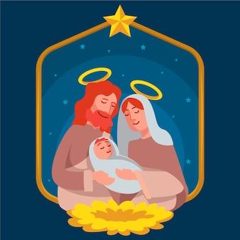 Sagrada familia de la biblia concepto de navidad