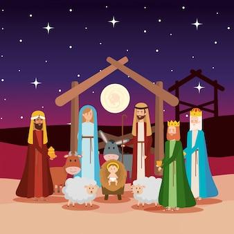 Sagrada familia con sabios reyes y animales.