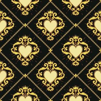 Sagrado corazon y cadena de oro.