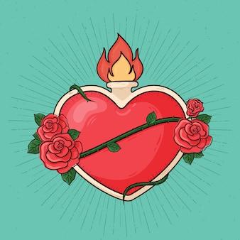 Sagrado corazón diseño dibujado a mano