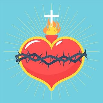 Sagrado corazón y fuego espiritual bajo la cruz.