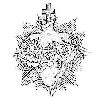 Sagrado corazón religioso en blanco y negro