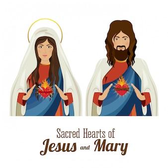 Sagrados corazones de jesús y holly mary, ilustración vectorial