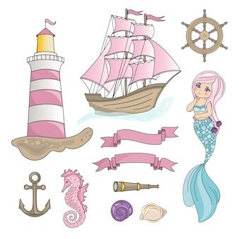 Sailboat mermaid sea travel color