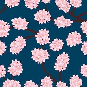 Sakura cherry blossom en fondo azul índigo