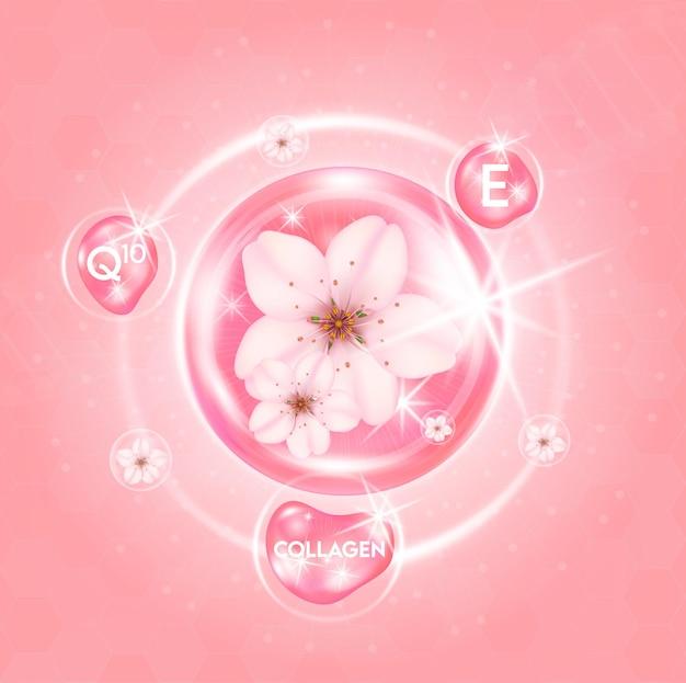 Sakura suero blanqueador para el cuidado de la piel gota de vitamina de flor de cerezo y colágeno