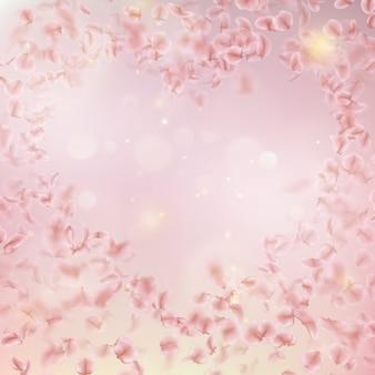 Sakura volando pétalos a favor del viento en el viento.