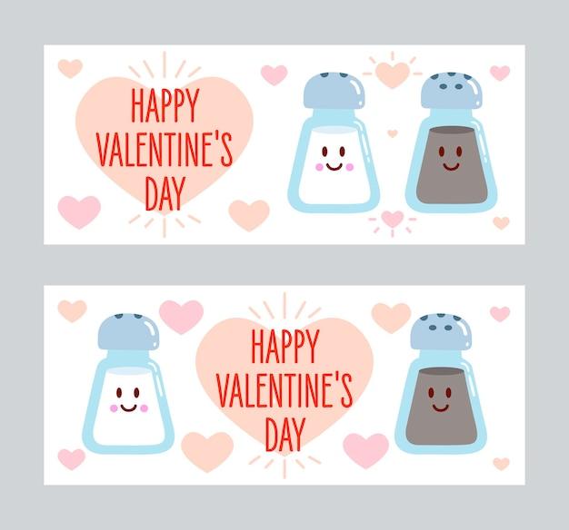 Sal y pimienta enamorados. banner de feliz día de san valentín.