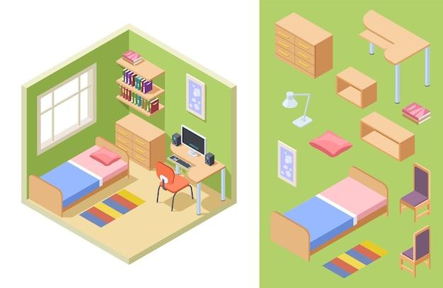 Sala de adolescentes isométrica. concepto de dormitorio de vector. interior para estudiante con sofá, sillas, escritorio, estanterías.