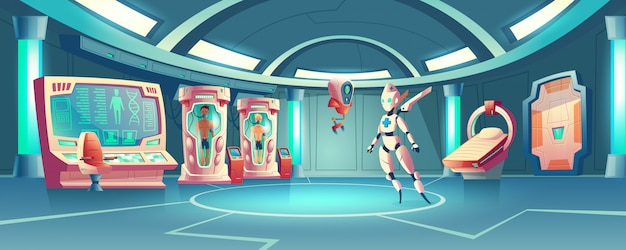 Sala de anabiosis con robot médico y astronautas.