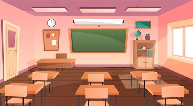 Sala de aula de escuela vacía de dibujos animados