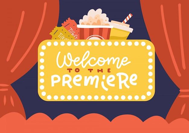 Sala de banner cinema, biombo y cortinas rojas. plantillas para carteles publicitarios para el estreno de las películas. cita de letras - bienvenido al estreno. ilustración dibujada a mano plana.