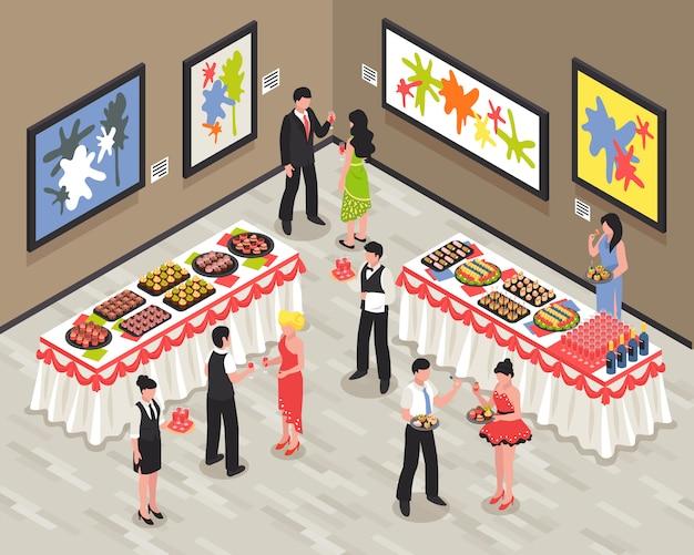 Sala de banquetes con invitados personal de alimentos y bebidas en las paredes de las mesas con imágenes brillantes ilustración vectorial isométrica