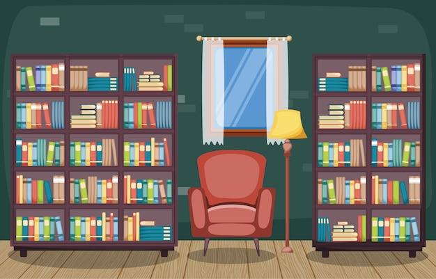 Sala de biblioteca interior de pila de libro en estantería de diseño plano