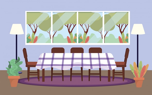 Sala de buceo con mesa y decoración de plantas.