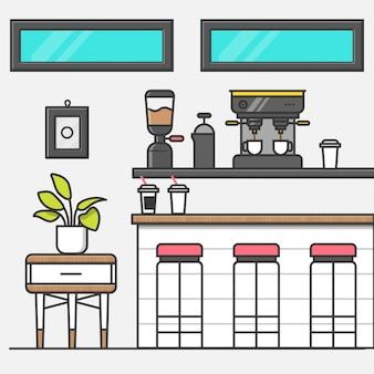 Sala de café minimal simple