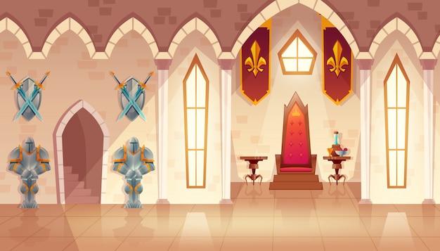 Sala del castillo con ventanas. interior del salón real con trono, mesa y guardias en caballero.