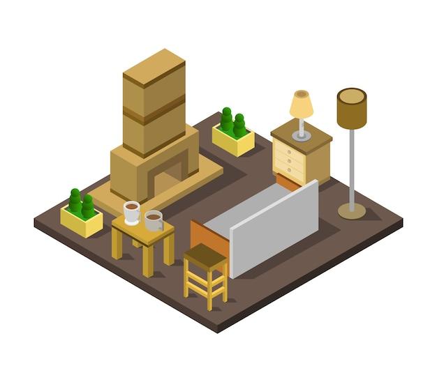 Sala de chimenea isométrica