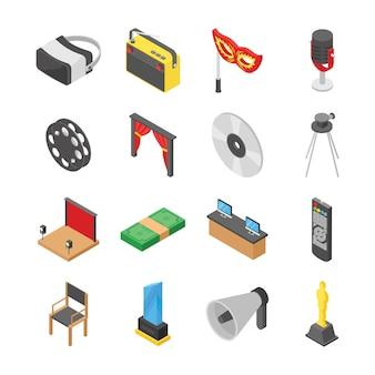 Sala de cine y conjunto de iconos de hacer películas