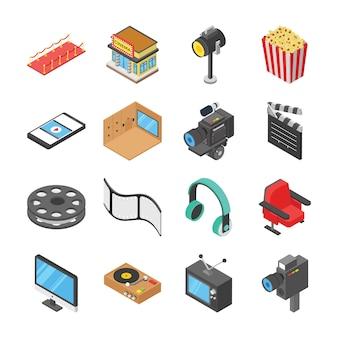 Sala de cine y los iconos de hacer películas