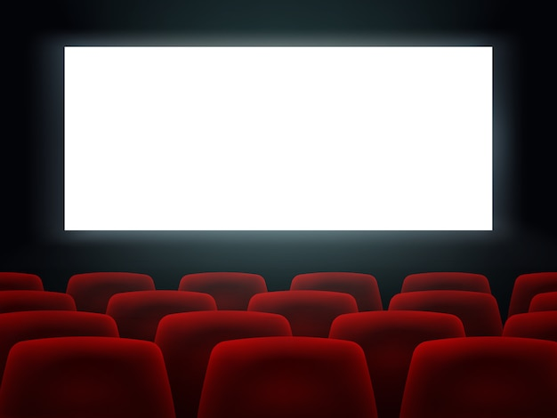 Sala de cine con pantalla en blanco blanco y asientos