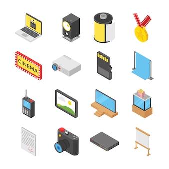 Sala de cine y paquete de iconos para hacer películas