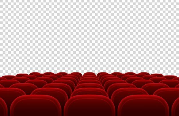 Sala de cine vacía del auditorio con asientos rojos. ilustración aislada interior del vector del pasillo del cine. auditorio interior sala teatro y cine con asiento rojo.