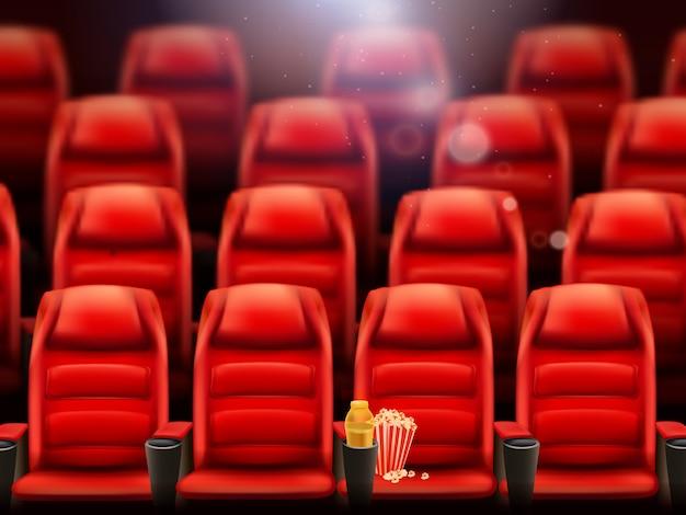 Sala de cine vacía con fondo realista de palomitas de maíz