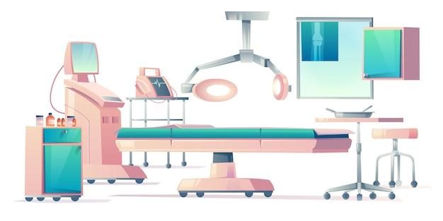 Sala de cirugía, conjunto de equipos médicos operativos