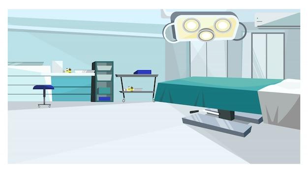 Sala de cirugía con mesa de operaciones con ilustración.