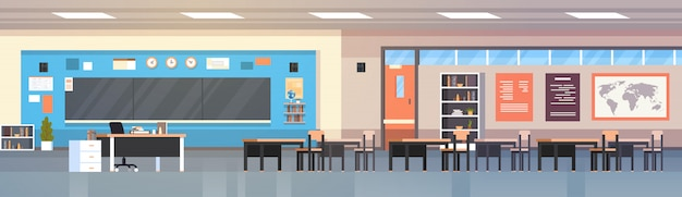 Sala de clase vacía aula escuela interior con el tablero y escritorio ilustración horizontal