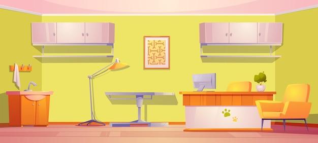 Sala de clínica veterinaria para asistencia médica y mascotas de examen