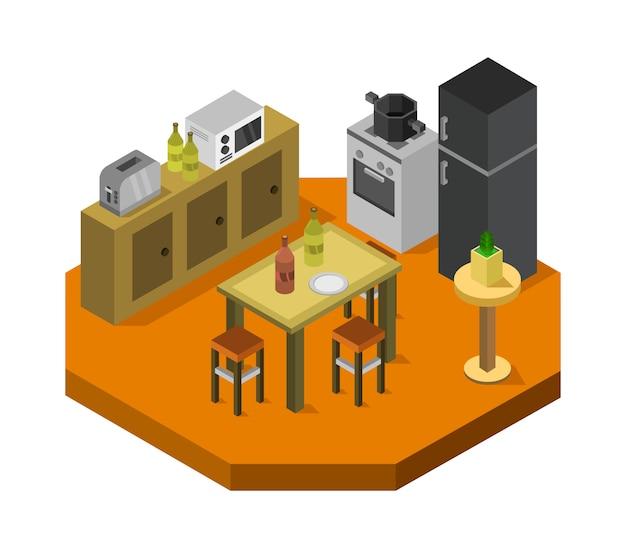 Sala de cocina isométrica