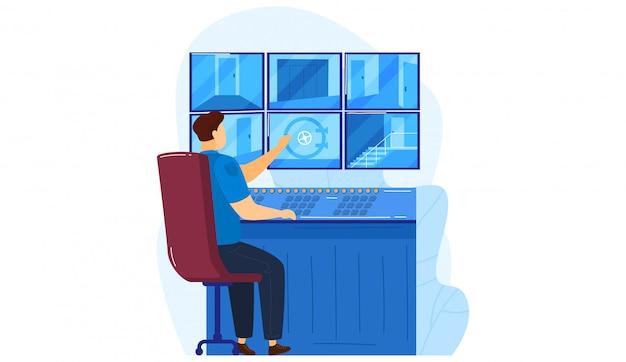 Sala de concepto de cámara de video de centro de vigilancia de seguridad, trabajador de servicio de policía ver seguridad de la ciudad aislada en blanco, ilustración de dibujos animados.