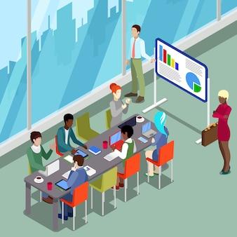 Sala de conferencias isométrica presentación comercial con personas.