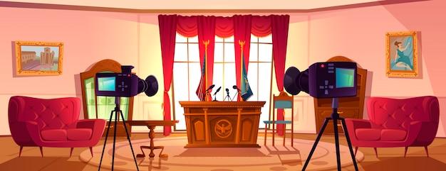 Sala de conferencias vacía para negociaciones del presidente