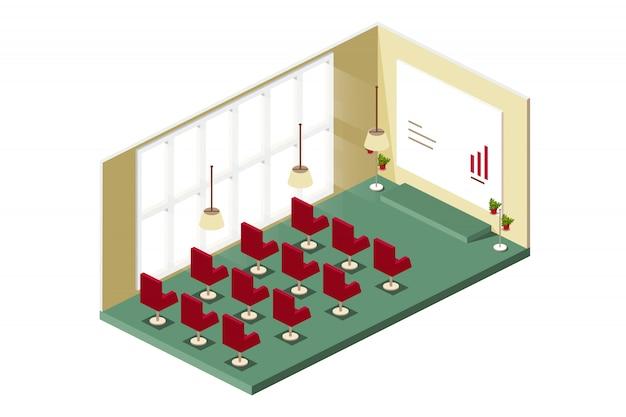 Sala de conferencias con varias filas de sillas.