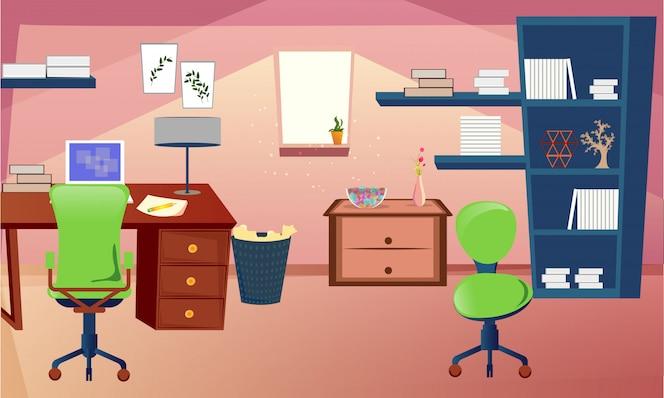 Sala de estudio o sala de diseño de interiores en estilo plano.
