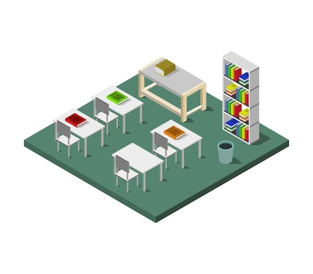 Sala de la escuela isométrica