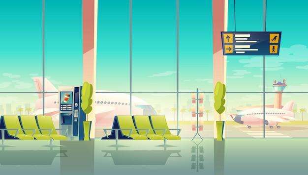 Sala de espera del aeropuerto: grandes ventanales, asientos y aviones en el aeródromo. concepto de viaje