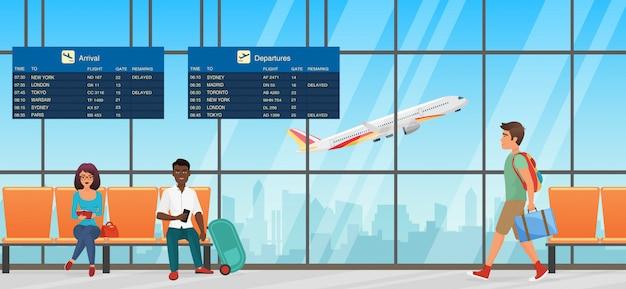 Sala de espera del aeropuerto. sala de embarque con sillas, paneles informativos y personas. sala terminal con vista de aviones.