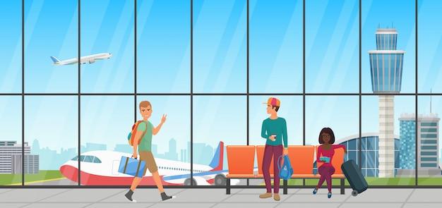 Sala de espera del aeropuerto. sala de embarque con sillas y personas. sala terminal con vista de aviones.