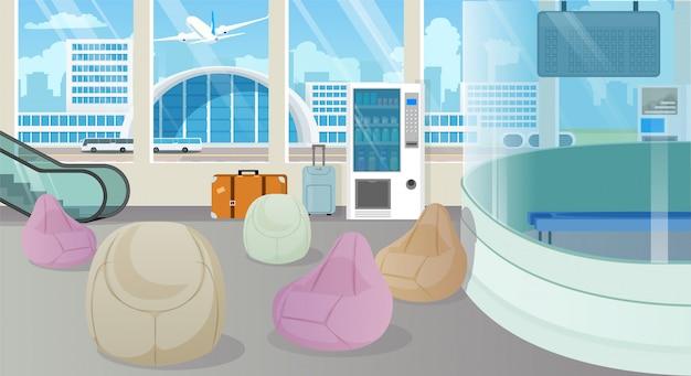 Sala de espera moderna del aeropuerto, vector de dibujos animados de salón