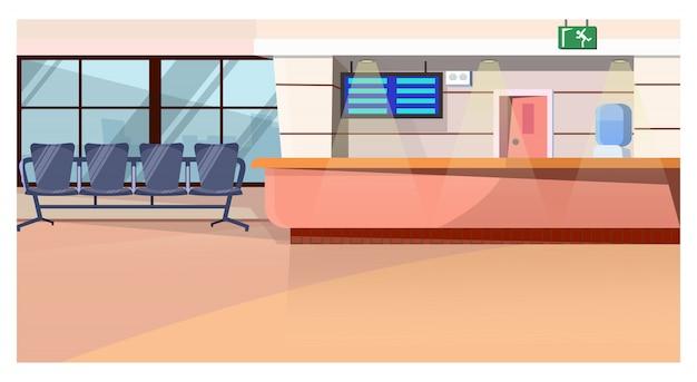 Sala de espera con mostrador en ilustración de aeropuerto