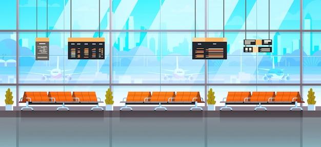 Sala de espera o sala de embarque. terminal moderna del interior del aeropuerto.